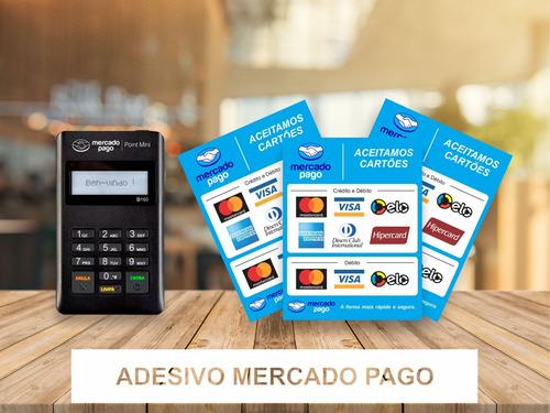 2 adesivo cartão de crédito débito maquininha mercado pago