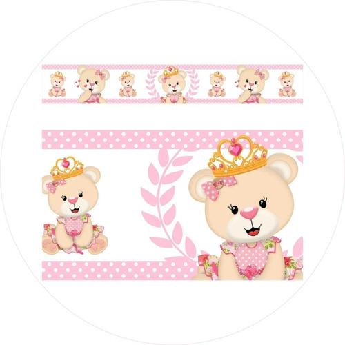 2 adesivos parede faixa infantil ursas princesas rosa claro