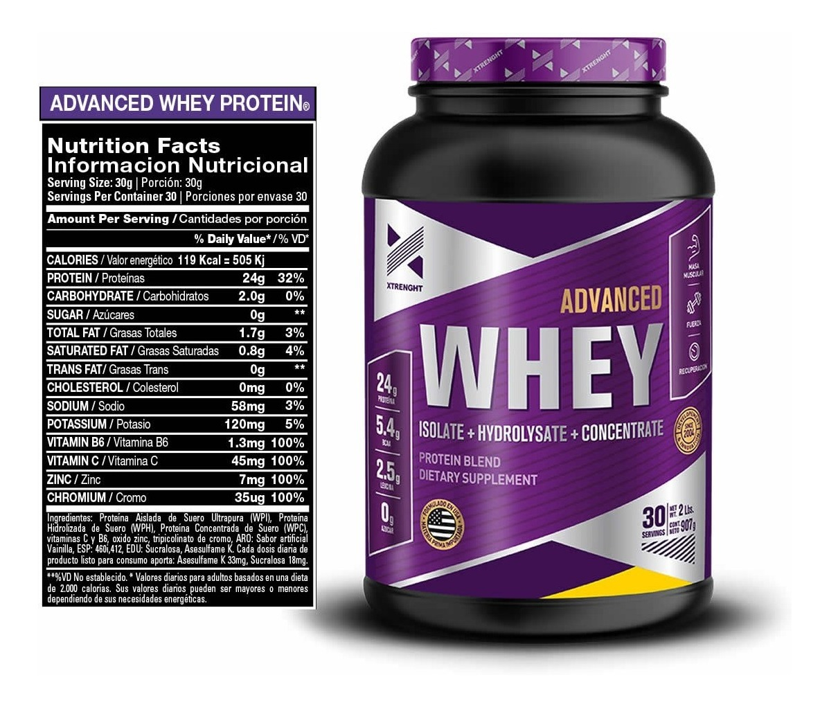 Resultado de imagen para xtrenght whey protein advanced informacion nutricional