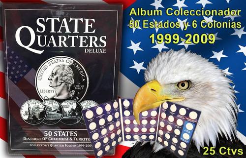 2 album coleccionador cuartos de dolar usa 25 centavos usa