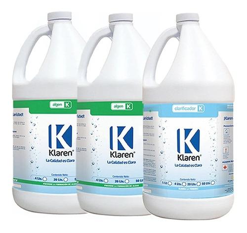 2 algicida algen elimina algas y 1 clarificador klaren 4 lts