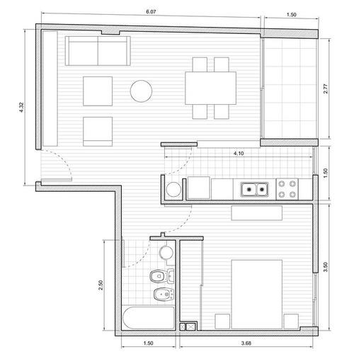 2 amb c/balcón · apto prof · fte a plaza · excel. acceso ·