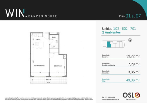 2 ambientes 51m2 en recoleta. amenities. win barrio norte
