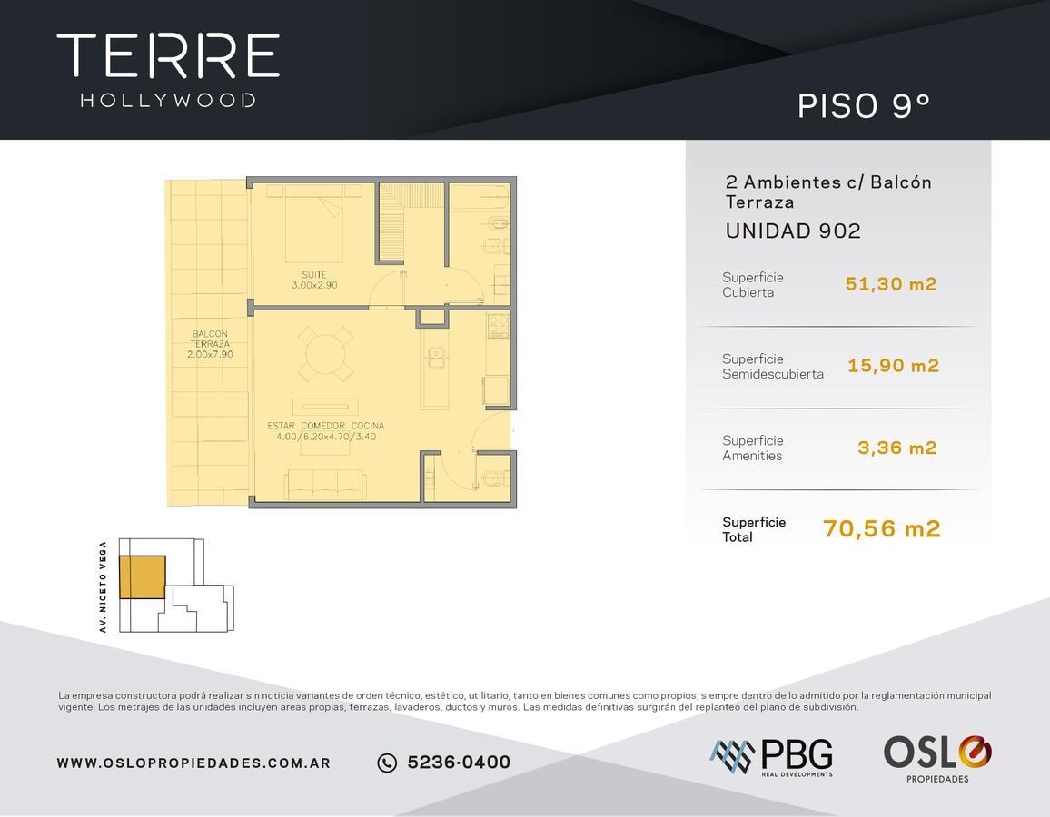 2 ambientes 64m2 en palermo hollywood. en construccion con amenities
