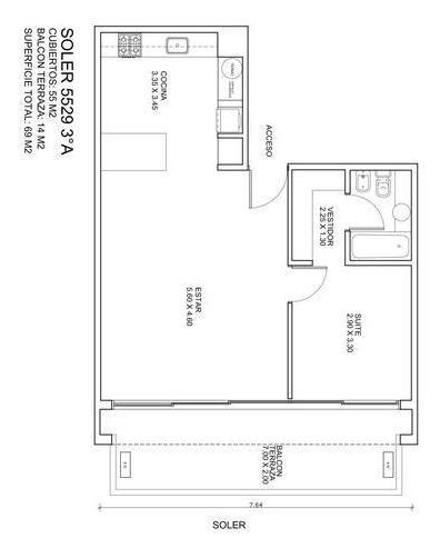 2 ambientes con balcón aterrazado y cochera fija - palermo hollywood