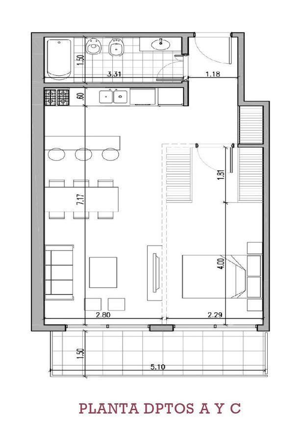2  ambientes con balcon en  floresta