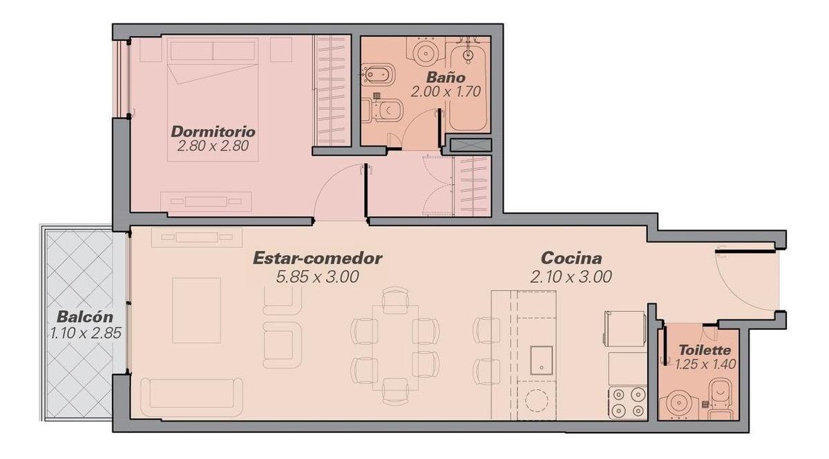 2 ambientes con cochera en san telmo a estrenar