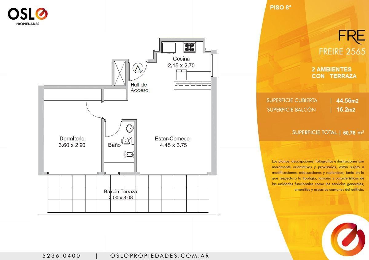 2 ambientes con terraza en belgrano a estrenar