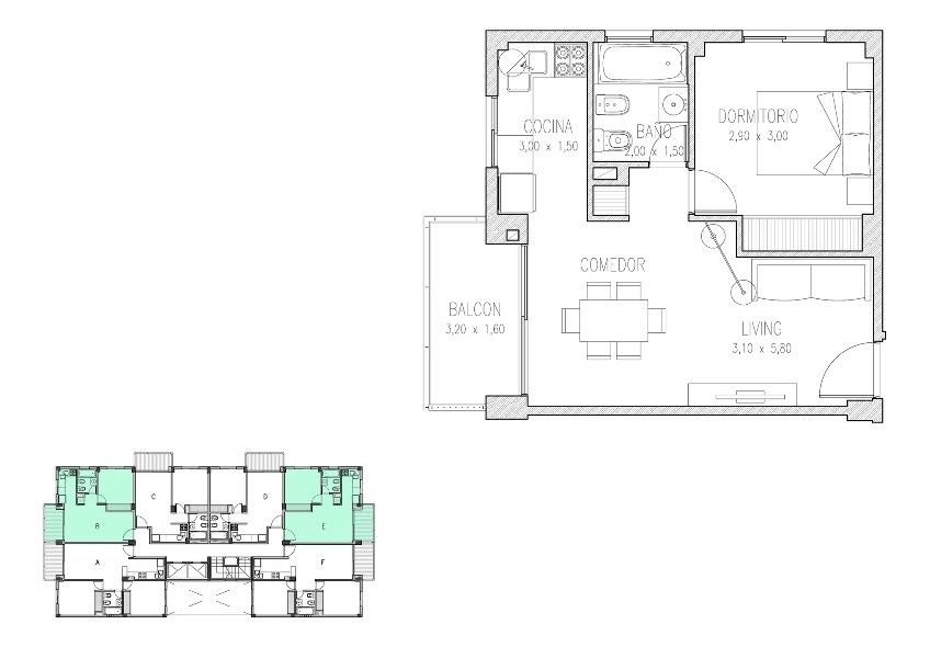 2 ambientes  de categoría en sáenz peña-matias cozzo prop.