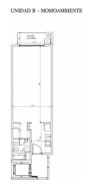 2 ambientes divisible a estrenar 47m2 c/lav.
