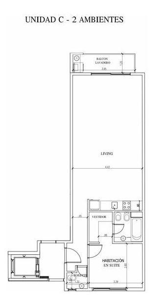 2 ambientes en suite a estrenar de 68m2 c/lav