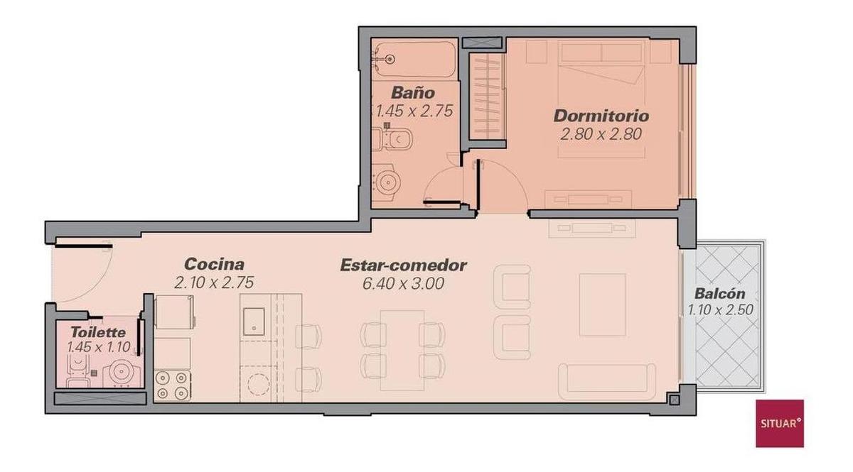 2 ambientes en suite a estrenar en san telmo