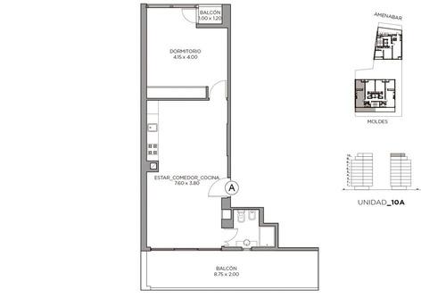 2 ambientes y amenities venta de pozo - colegiales