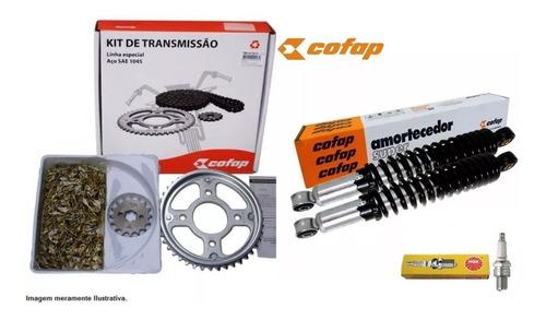 2 amortecedor cofap + kit relação cg titan 150 fan vela ngk