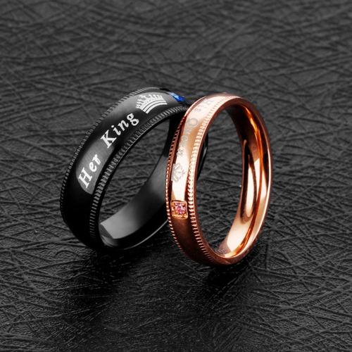2 anillos acero inox  amor parejas novios duo king queen rey