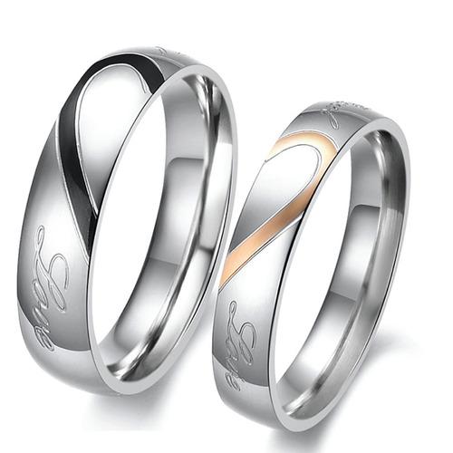 2 anillos de compromiso parejas titanio columnaria + mayoreo