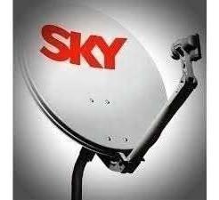 2 antena ku  60 cm com logo sky   - 2 lnb duplo universal