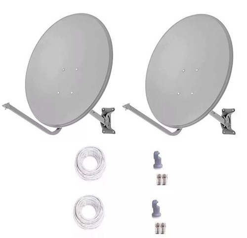 2 antenas ku 60 cm + lnb duplo + 40  mts cabo + conectores
