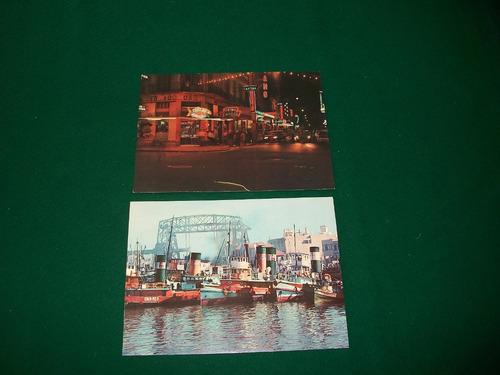 2 antiguas postales de la boca .