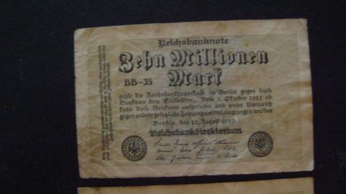 2 antiguo billete alemania 10millones marcos 1923 serie 4.18