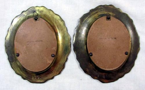 2 antiguos cuadros estilo francés en bronce 11,5 cm x 13 cm