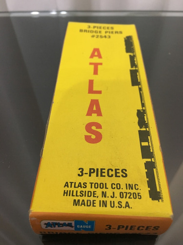 2 atlas railroad 3 pieces bridge piers 2543