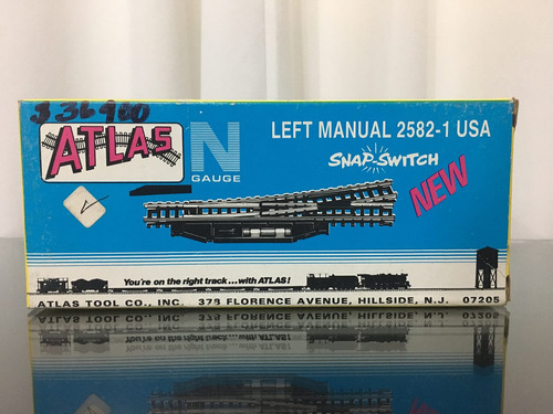 2 atlas railroad n gauge left manual snap switch 2582-1