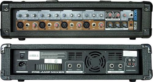 2 bafle 12 300w + consola potenciada moon m410 + 2 mic cjf