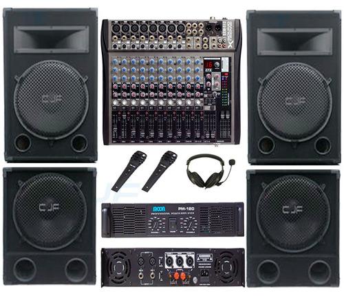 2 bafle 15 3 vias 2400w + amplificador potencia moon pm 120