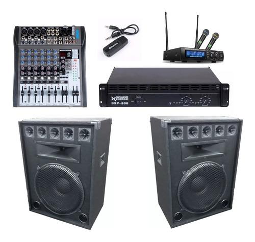 2 bafles 18  +amplificador 800w +mixer 8 ch +inalambricos