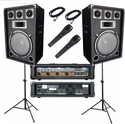 2 bafles 600w consola 9 ent efec potencia 1200w 2 mic dancis