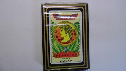 2 barajas naipe española 100 % plastico marca faisan