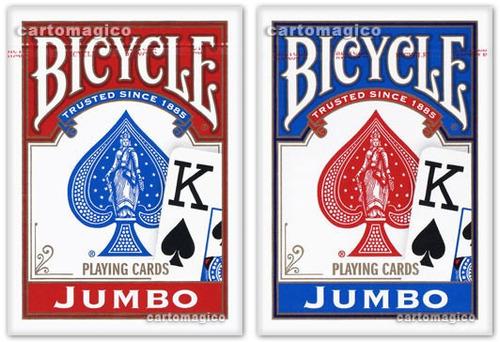 2 baralhos bicycle jumbo - vermelho e azul - poker size