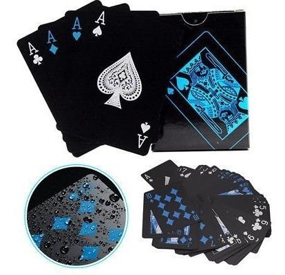 2 baralhos preto azul  pvc magica ilusionista 55cts