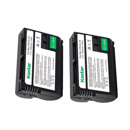 2 baterias en-el15 kastar para nikon d7000 d610 d810 d750