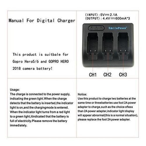 2 baterías recargable cargador 3 canales gopro hero/black5,6
