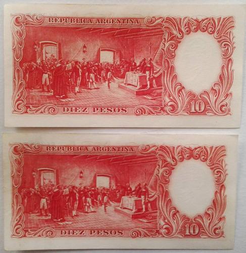 2 billet 10 pesos - argentina 1954 - serie f - s/c y correl