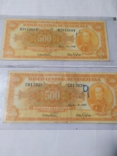 2 billete de 500 bs canarios 1966 y 1967