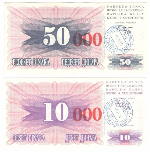 2 billetes bosnia & herzegovina (1993) con ceros rojos
