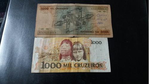 2 billetes brasil 1000 cruzeiros diferentes  (c15_8