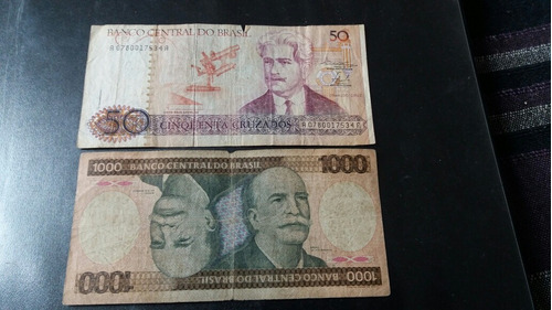 2 billetes brasil 50 cruzados 1000 cruzeiros  (c15_6