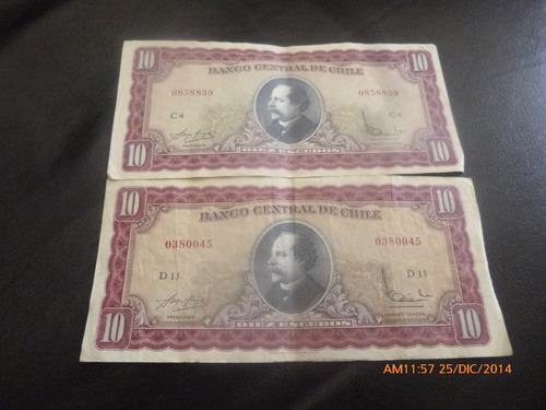 2 billetes de 10 escudos molina ibañez -2 firmas (c-37-2