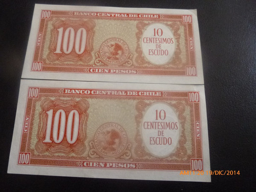 2 billetes de 100 pesos correlativos  molina ibanez (c-47-5
