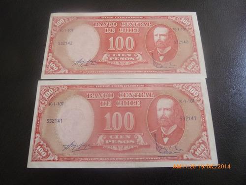 2 billetes de 100 pesos correlativos  molina ibanez (c-5-8