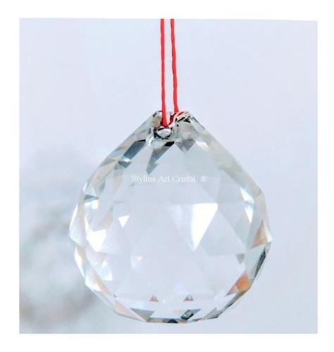 2 bolas cristal asfour esfera feng shui 3,0cm lustres c/fio