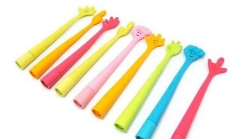 2 bolígrafo c/forma de mano colores variados