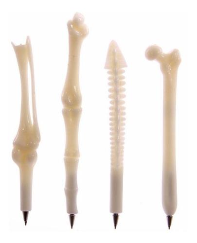 2 bolígrafos c/forma huesos inyectadora colores variados