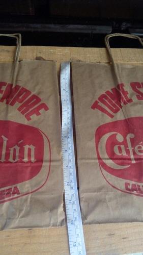 2 bolsas antiguas de papel cafe colon bolso antiguo tienda
