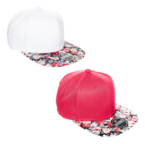 5af6d66086 2 Bombetas Aba Reta Aberto Snapback Floral Branco Vermelho