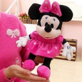 2 bonecas de pelucia minnie laço rosa tam: 50cm